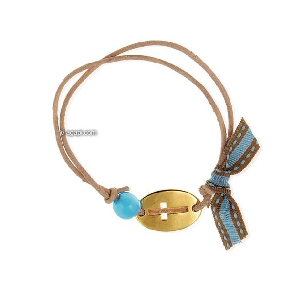 Baptism favors Greek martyrika cross witness bracelets for boys oval gold cross