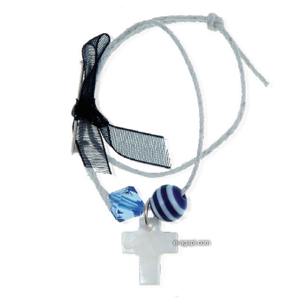 Baptism favors Greek martyrika cross witness bracelets and pins for boys blue bead