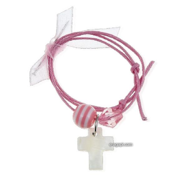 Baptism favors Greek martyrika cross witness bracelets and pins  for girls pink bead