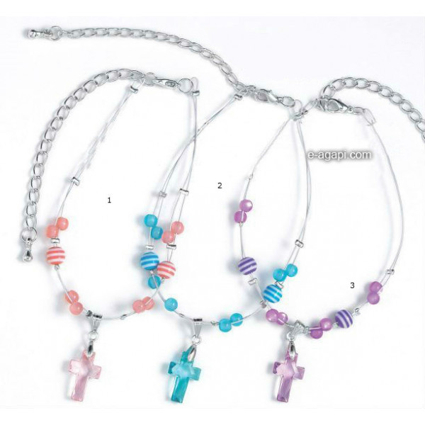 Baptism favors Greek martyrika cross witness bracelets for boys and girls silver chain