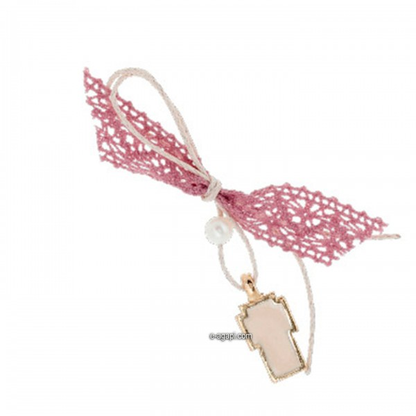 Baptism favors Greek martyrika pink cross witness pins for girls pink lace