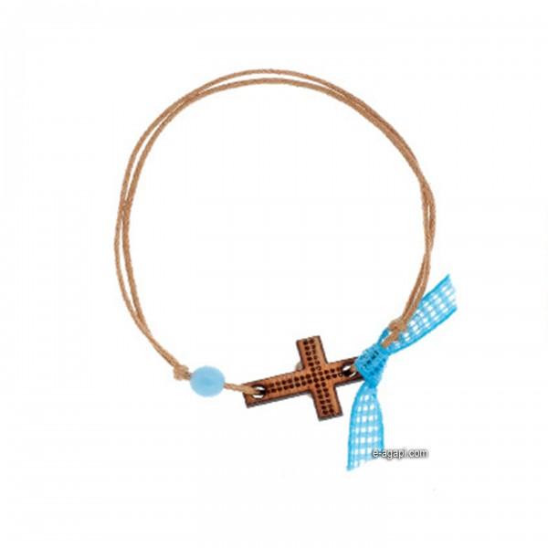Baptism favors Greek martyrika cross witness bracelets for boys wooden cross