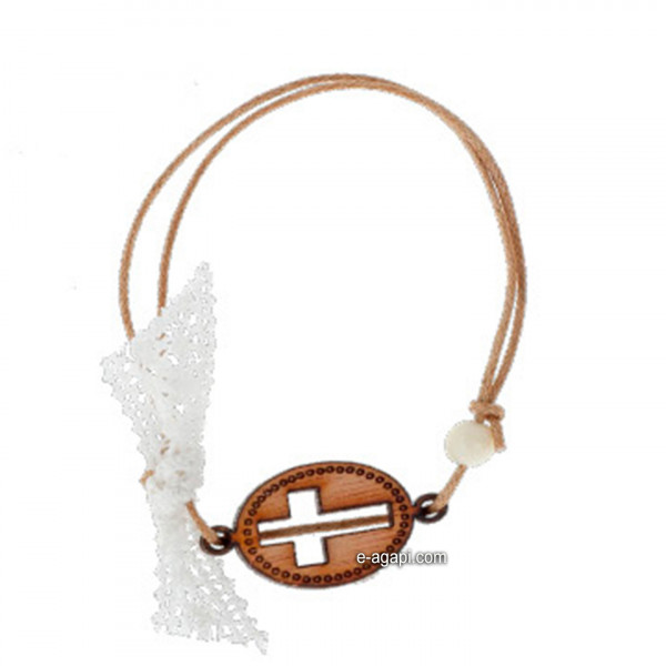 Baptism favors Greek martyrika cross witness bracelets boys and girls white lace pearl